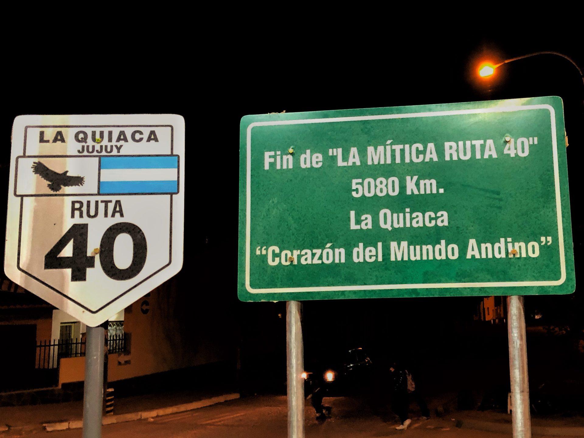 Start und Ende der Ruta 40 in Argentinien